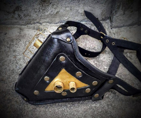 Steampunk Long Leather Mask with brass decorations