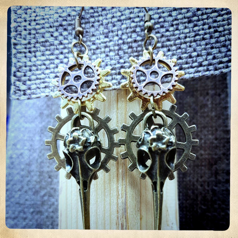 Bird Skull Steampunk style Earrings