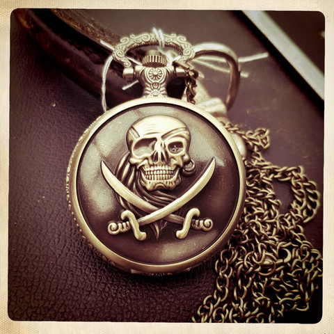 Big Battery Pocket Watch with Pirate Decor