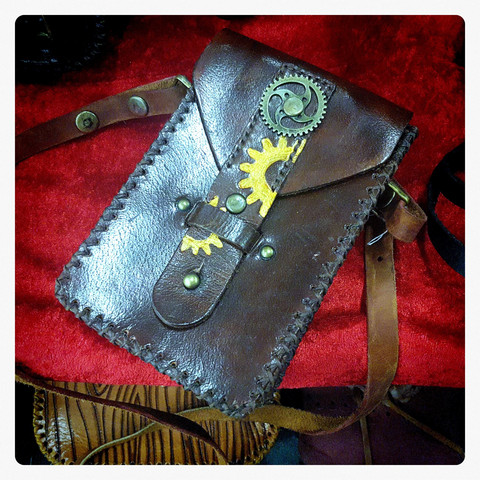 Steampunk style Shoulder & Belt Bag about 6 inches size.
