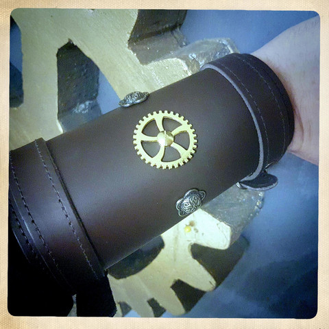 Decorated Steampunk style leather cuff
