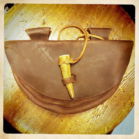 Leather Horn Bag, Medieval style
