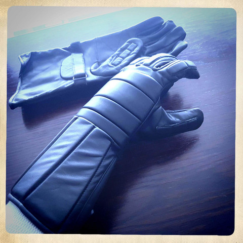 Long Riotgloves style, leather, black