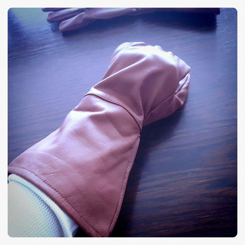 Assassin style long gloves, leather, brown