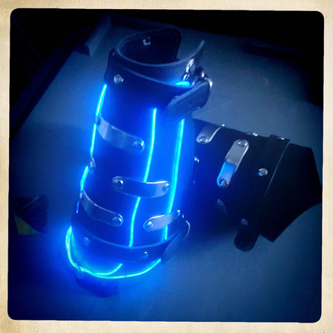 LED Cuff with blue lights, black leather