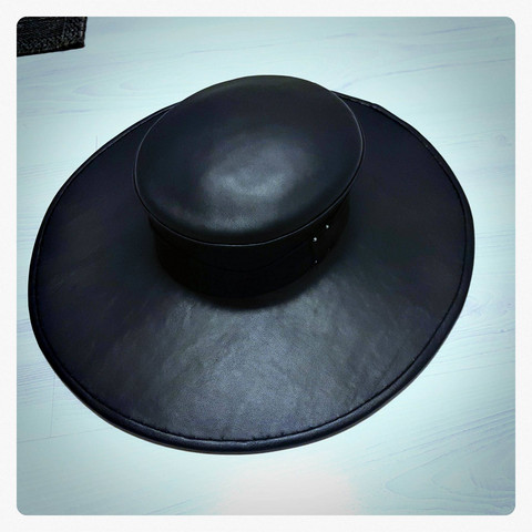 Wide Brim hat, handmade, leather, Plaque Doctor hat, cowboy