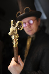 Walking Cane Goat Head - Gentleman style - Steampunk walking cane - Goat - Gentleman