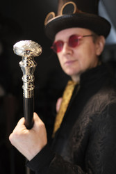 Walking Silver Decor Metal top Head - Gentleman style - Steampunk walking cane - Gentleman