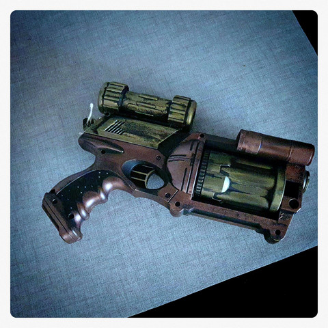 Steampunk style softbullet gun with light