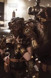 Steampunk tyylinen Ranneke ja Nahka Hanska