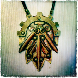 Steam Elf Necklace, special style, leather and brass
