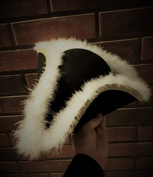 Captain / Officer Tricorne Hat with Feathers on corners