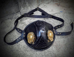 Steampunk style mask with brass hatches Black or Brown