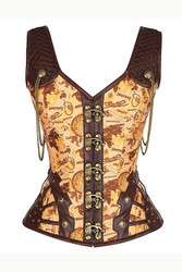 Steampunk style Corset with shoulder straps and soft metal bones