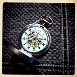 Mechanical Pocket Watch with Glow in the Dark face of watch