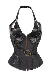 Steampunk style Corset with Neck strap and soft metal bones