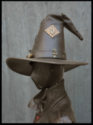 Leather Wizard / Fantasy Hat with extra pointy and high top