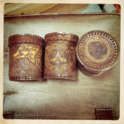 Leather Dicecup with wolf, Thor´s Hammer and World Serpent decorations on cover