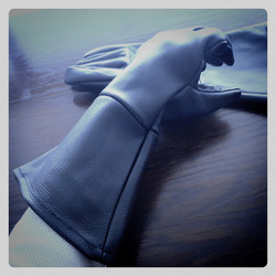 Long Battle Gloves, leather, black