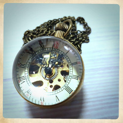 Mechanical Pocket Watch,  Spherical shape with magnifying glass
