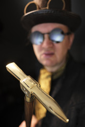 Walking Cane Warpick head stick - Gentleman style - Steampunk walking cane - Telescope - Gentleman
