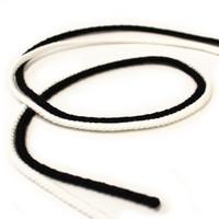 Pyöreä polyesterinyöri 4mm - 1m, musta ja valkoinen