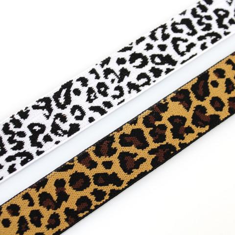 Bokserikuminauha 25mm leopardi, mustavalkoinen ja ruskea