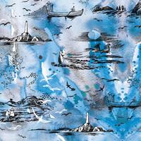 Huigee: Muumi Luomupuuvillatrikoo, Meriseikkailu, sininen