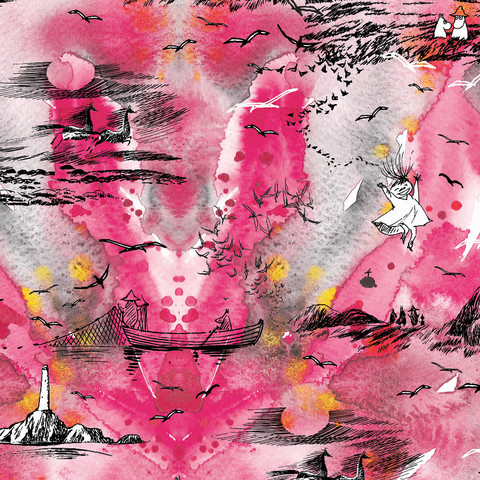 Huigee: Muumi Luomupuuvillatrikoo, Meriseikkailu, pinkki