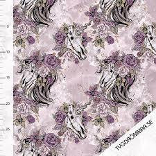 Tygdrömmar, luomutrikoo: Unicorn skull, violetti