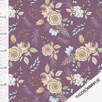 Tygdrömmar, luomutrikoo: Garden flowers - violetti