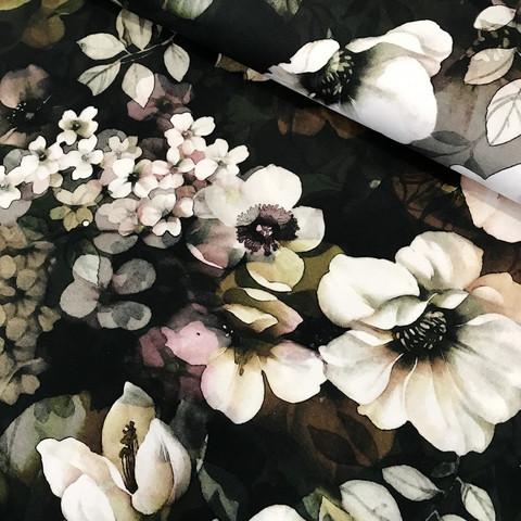 Digitrikoo: Autumn flowers, tummanvihreä-valko-pronssi