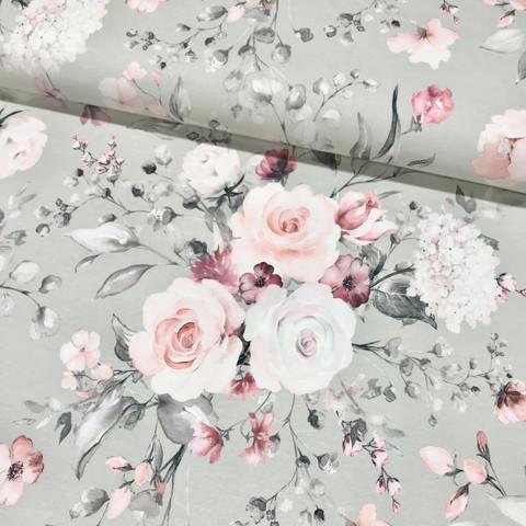 Digitrikoo: Rose garden, vaaleanharmaa