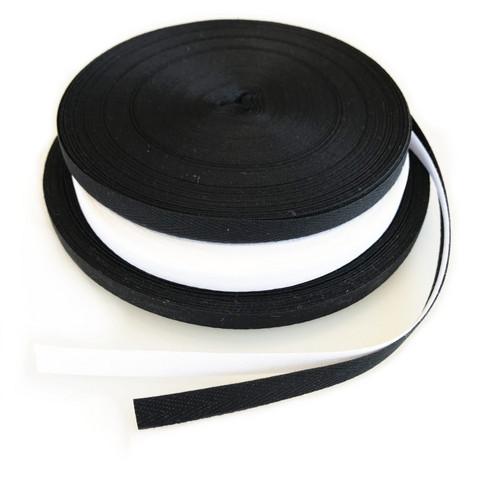 Puuvillanauha 10mm, musta ja valkoinen