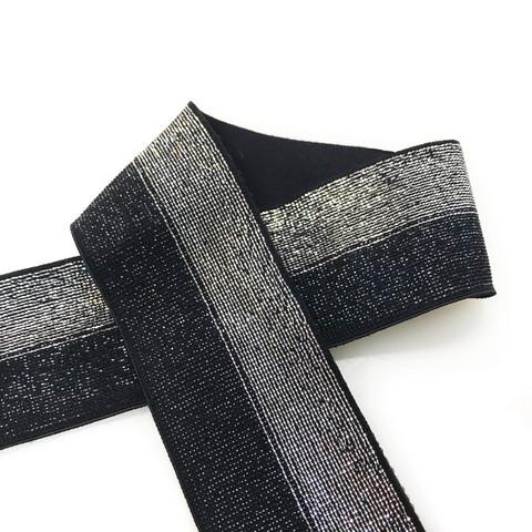Pehmoinen glitterikuminauha 40mm, musta - hopea