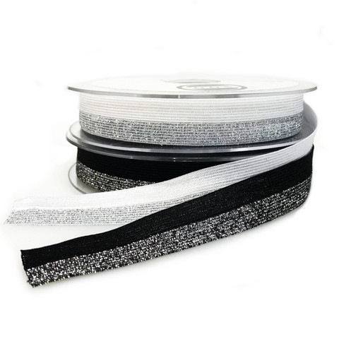 Glitteri joustokanttinauha Foe 20mm, musta ja valkoinen