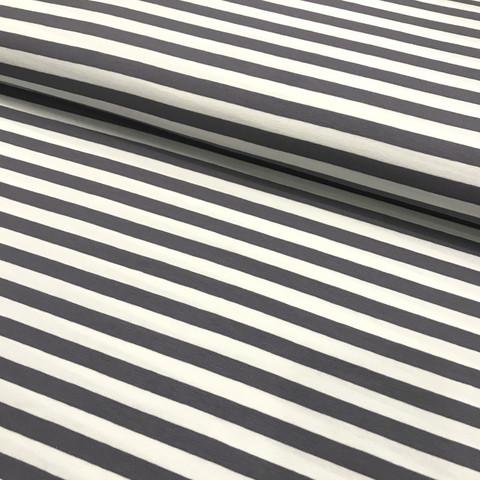 Trikoo: Raita 1cm, tummanharmaa - valkoinen