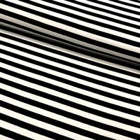 Trikoo: Raita 1cm, musta - valkoinen