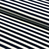 Trikoo: Raita 1cm, tummansininen - valkoinen