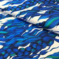 Hellin: Pony Braid luomupuuvillatrikoo, Sinivalkoinen