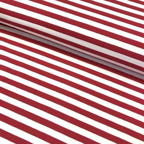 Trikoo: Raita 1cm, punainen - valkoinen