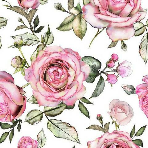 Digijoustocollege: Big roses, valkoinen