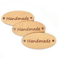 Kotimainen -  Handmade merkki ovaali, nahka