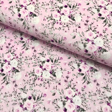 Puuvillapopliini: Rose garden pieni, vaaleanpunainen