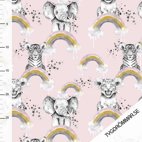 Tygdrömmar, luomutrikoo: Rainbow animals, vaalea vaaleanpunainen