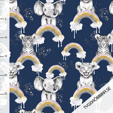 Tygdrömmar, luomutrikoo: Rainbow animals, tummansininen