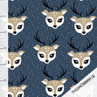 Tygdrömmar, luomutrikoo: Debbie deer, tummansininen