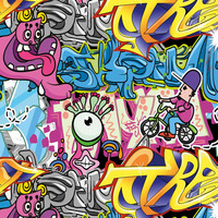 Digitrikoo: Graffiti, pinkki - monivärinen