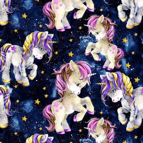 Digitrikoo: Unicorn and star, tummansininen