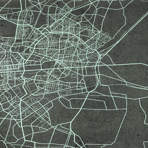 Joustocollege: Urban map - harmaa - turkoosi -raportti, 70cm x 150cm